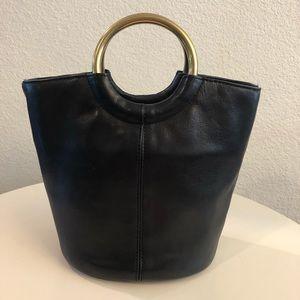 J. Crew Bracelet Black Leather Bucket Bag